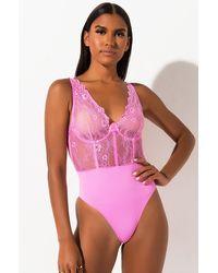 AKIRA Eve Sexy Lounge Lace Bodysuit - Pink