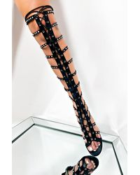 AKIRA Before You Go Rhinestone Studded Gladiator Sandal - Black