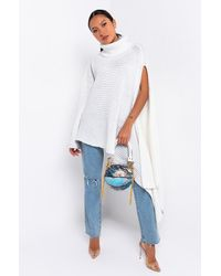 AKIRA Sweater Weather High Low Turtle Neck Sweater - White