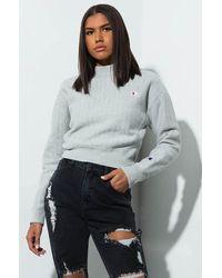 Champion Reverse Weave Mock Neck Printed Crop Sweatshirt - Gray