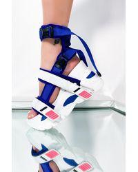 AKIRA Touch Down Flatform Sandal - Blue