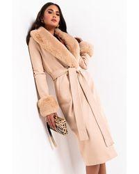 AKIRA Came To Slay Fur Detail Belted Coat - Brown