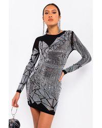 AKIRA Mirror Mirror On The Wall Rhinestone Mini Dress - Black