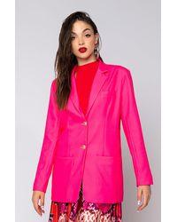 AKIRA Jaq Pot Oversized Summer Blazer - Pink