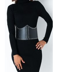 AKIRA Super Freak Studded Corset Belt - Black