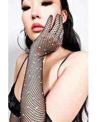 AKIRA High Class Elbow Length Fishnet Rhinestone Fashion Gloves - Black