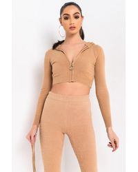 AKIRA In A Dream Long Sleeve Front Zip Sweater - Natural