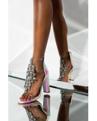 AKIRA Queen Of Everything Rhinestone Chunky Sandal - Multicolour