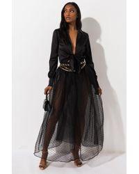 AKIRA Love Is Like Wow Mesh Maxi Skirt - Black