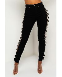 AKIRA Buckle Up High Rise Denim Pant - Black