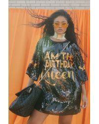 AKIRA Birthday Queen Sequin T Shirt Dress - Multicolour