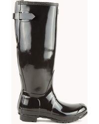 AKIRA Original Back Adjustable Gloss Rain Boot - Black