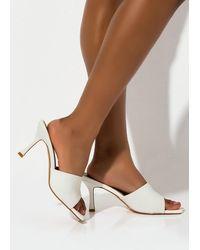 AKIRA Mix Up Stiletto Sandal - White