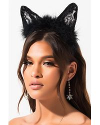 AKIRA Feathers And Lace Cat Ears - Black