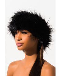 AKIRA Faux Fur Wrap Around Headband - Black