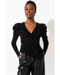 AKIRA Never Boring Puff Sleeve Blouse - Black