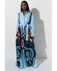 AKIRA Blossom Butterfly Long Sleeve Maxi Dress - Blue