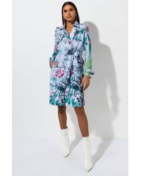 AKIRA Pick Your Poison Floral Trench Coat - Blue