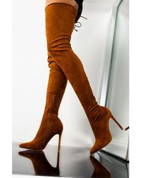 AKIRA Let Your Body Move Suede Thigh High Boot - Brown
