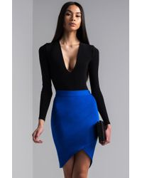 AKIRA Know The Rules Bandage Skirt - Blue