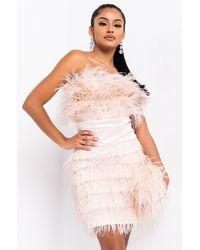 AKIRA Bite Me Feather Mini Dress - Multicolour