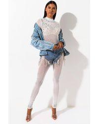 AKIRA East West Sheer Pearl Mesh Jumpsuit - White