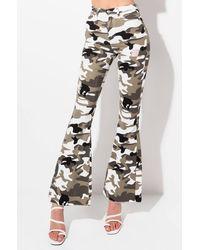 AKIRA Stacks On Stacks Camo Flare Jeans - Grey
