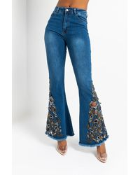 AKIRA Applique Me High Waisted Flare Jeans - Blue