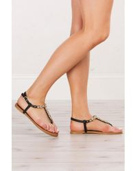 AKIRA - Bling Out Flat Sandals - Lyst
