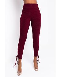 AKIRA Flawless Ruched Side Tie LEGGING - Red