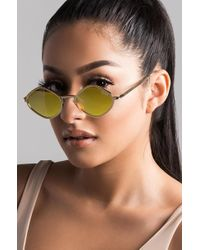 20145adc5ed58 Lyst - AKIRA Send You On Your Way Oval Sunglasses
