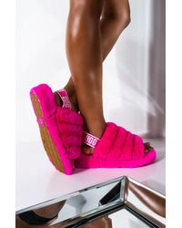 UGG Fluff Yeah Sheepskin Slingback Slippers - Pink
