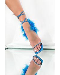 AKIRA Living In Bliss Fur Pyramid Heel Stiletto - Blue