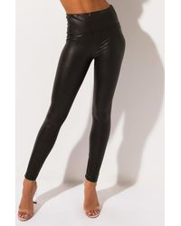AKIRA Slim Thicc High Waisted Faux Leather LEGGING - Brown