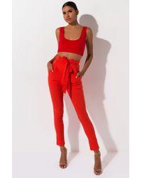 AKIRA Lulu Paper Bag High Waist Cigarette Pants - Orange