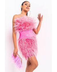 AKIRA Bite Me Feather Mini Dress - Pink