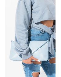 AKIRA Like Whoa Vegan Leather Slouch Clutch - Blue