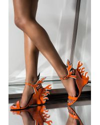 AKIRA Fire In My Sole Flame Heel Wedge Sandal - Orange