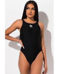 adidas Womens Trefoil Logo Swimsuit - Black