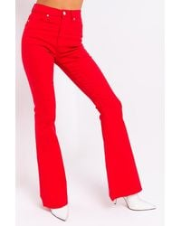 AKIRA Float On Flare Jeans - Red