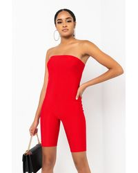 PAXTON Don't Hold A Grudge Tube Top Romper - Red