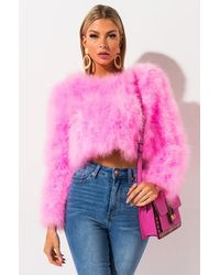 AKIRA Sweet Talk Ostrich Feather Jacket In Neon Pink