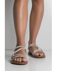 AKIRA - Dont Be Fooled Glittery Strappy Sandals - Lyst