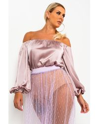 AKIRA Wanna Be Off The Shoulder Blouse - Purple