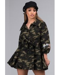 AKIRA - At Your Attention Sequin Camo Top - Lyst