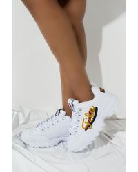 Fila - Womens Disruptor Ii Signature Chunky Sneaker In White - Lyst