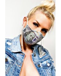 AKIRA Cash Rules Rhinestone Fashion Face Mask - Green