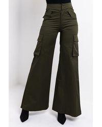 AKIRA Can't Stop The Beat Fashion Wide Leg Trousers - Green