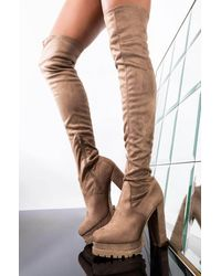 AKIRA Embracing You Chunky Heel Thigh High Boot - Brown