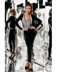 AKIRA Money Making Moves Rhinestone Fringe Deep V Jumpsuit - Black